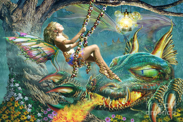 Puzzle Digital Art - Dragon And Fairy Swing by MGL Meiklejohn Graphics Licensing
