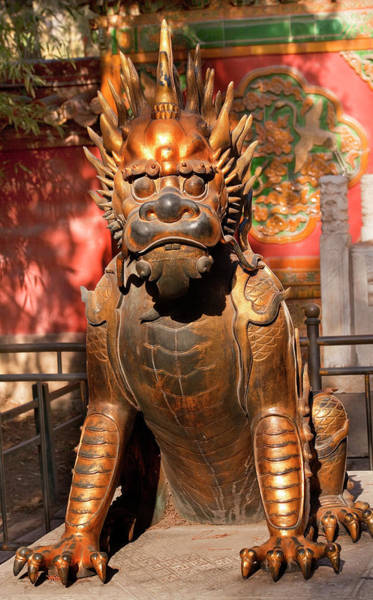Forbidden City Photograph - Dragon Bronze Statue With Hand On Ball by William Perry