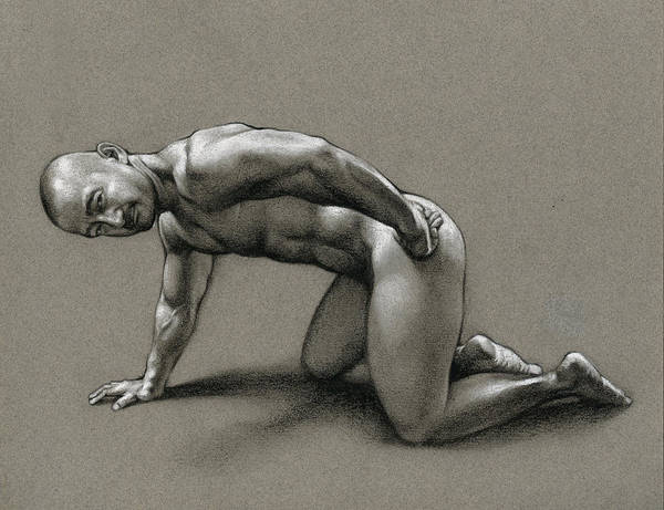 Male Nude Drawing - Dragon by Chris Lopez