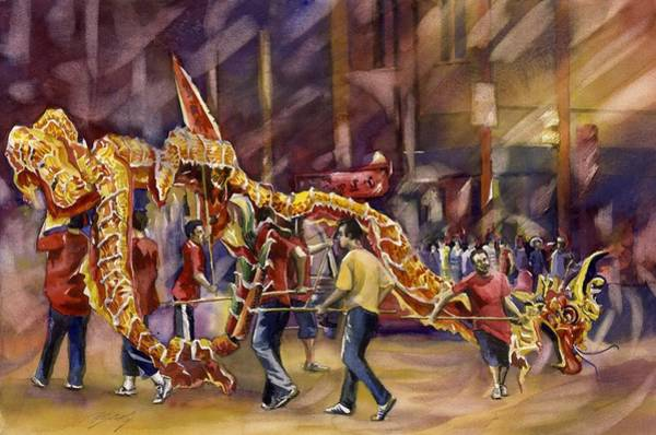 Painting - Dragon Dance For Chinese New Year by Alfred Ng