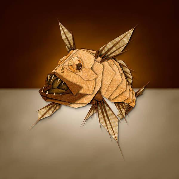 Digital Illustration Photograph - Dragonfish In Wood by Yo Pedro