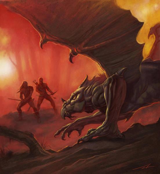 World Of Warcraft Wall Art - Painting - Dragon Hunters by Alan Lathwell