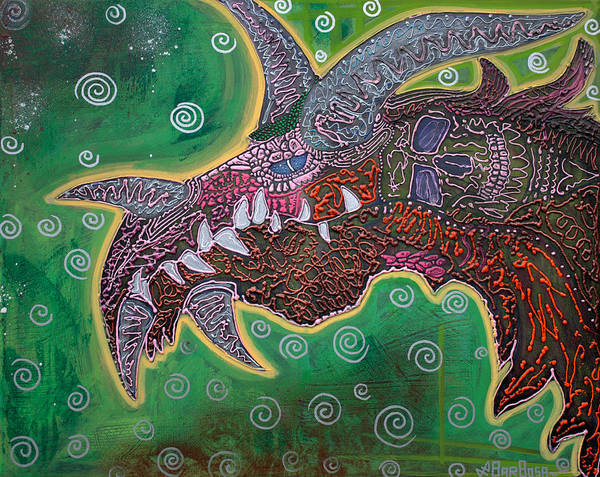 Wall Art - Painting - Dragon by Laura Barbosa