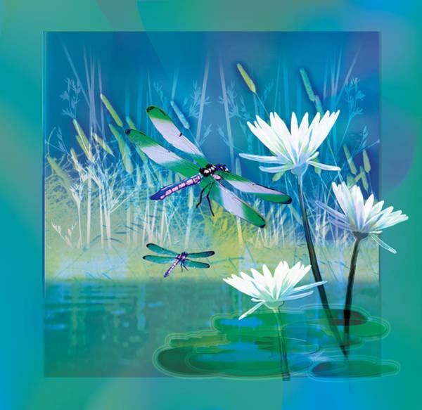 Wall Art - Painting - Dragonfleis On Blue Pond by Regina Femrite