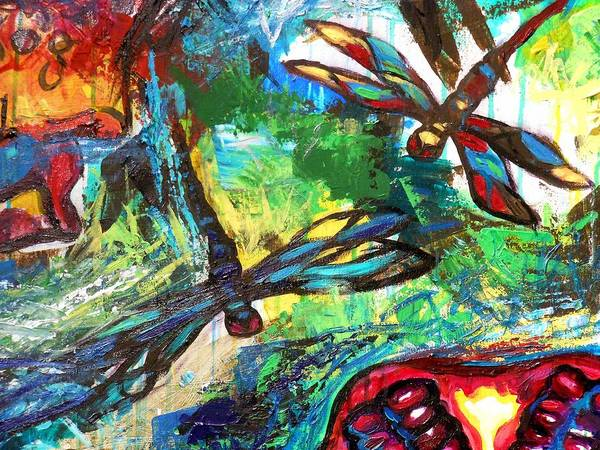 Dragon Fly Painting - Dragonflies Abstract 3 by Genevieve Esson