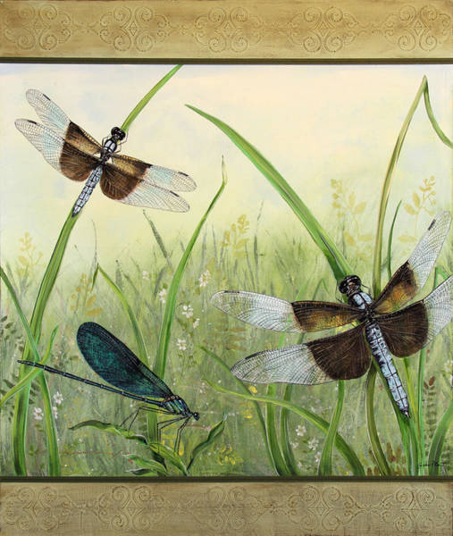 Yellow Ribbon Painting - Dragonflies In The Meadow by Jean Plout
