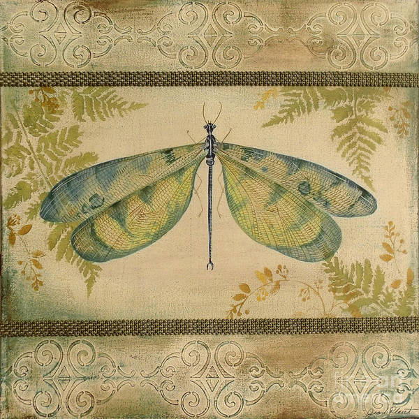 Emboss Wall Art - Painting - Dragonfly Among The Ferns-1 by Jean Plout