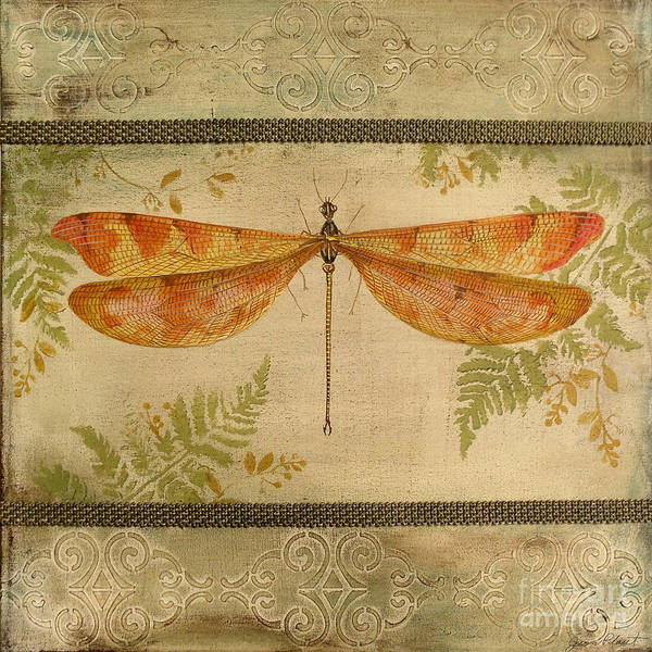 Emboss Wall Art - Painting - Dragonfly Among The Ferns-2 by Jean Plout