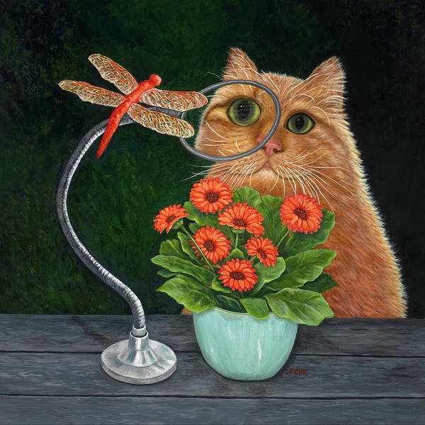 Painting - Dragonfly And Cat by Karen Zuk Rosenblatt