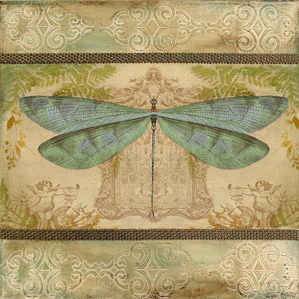 Yellow Ribbon Painting - Dragonfly And The Angel-2 by Jean Plout