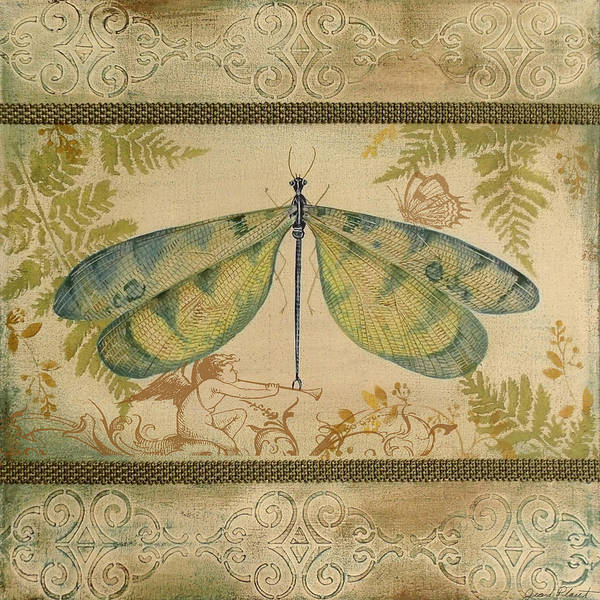 Yellow Ribbon Painting - Dragonfly And The Angel-3 by Jean Plout
