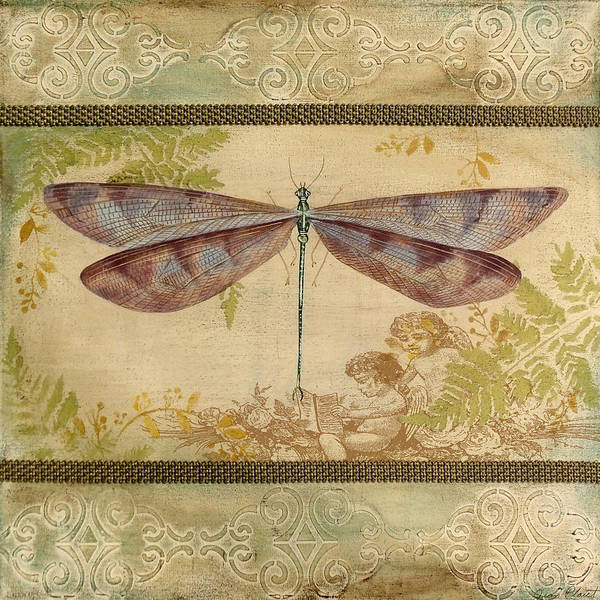 Yellow Ribbon Painting - Dragonfly And The Angel-4 by Jean Plout