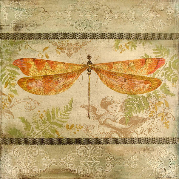 Yellow Ribbon Painting - Dragonfly And The Angel-5 by Jean Plout