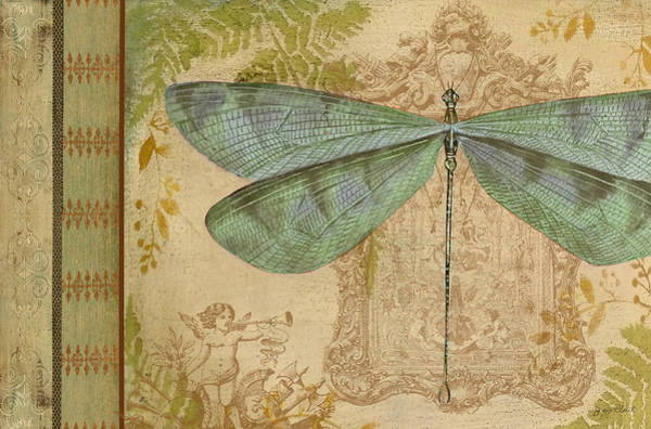 Yellow Ribbon Painting - Dragonfly And The Angel by Jean Plout
