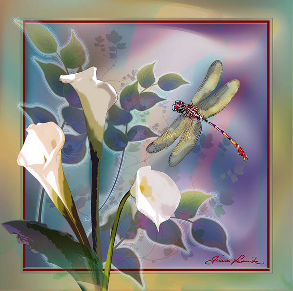 Gina Femrite Wall Art - Painting - Dragonfly Dream In Green And Purple by Regina Femrite