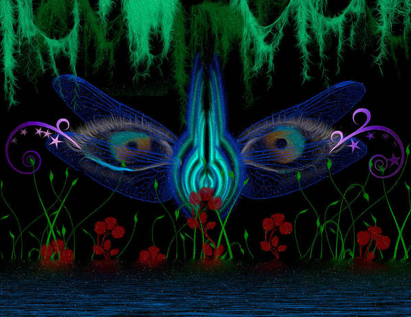 Moss Digital Art - Dragonfly Eyes Series 6 Final by Teri Schuster