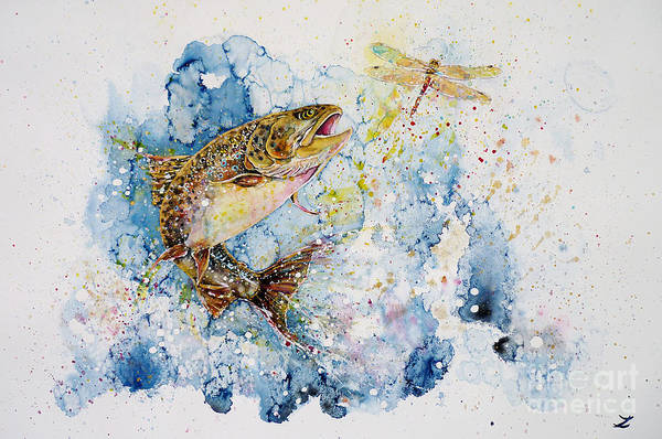 Trout Watercolor Wall Art - Painting - Dragonfly Hunter by Zaira Dzhaubaeva