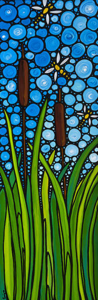 Lilly Pad Wall Art - Painting - Dragonfly Pond By Sharon Cummings by Sharon Cummings