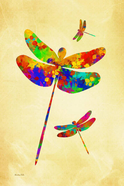 Mixed Media - Dragonfly Watercolor Art by Christina Rollo