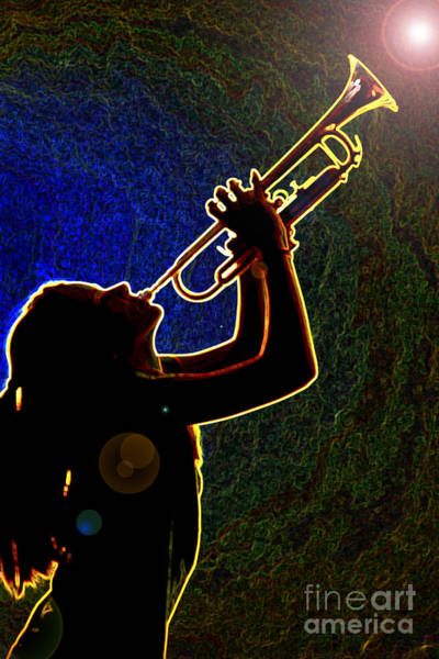 Photograph - Drak Drawing Silhouette Trumpet Music Instrument And Girl 3016.0 by M K Miller