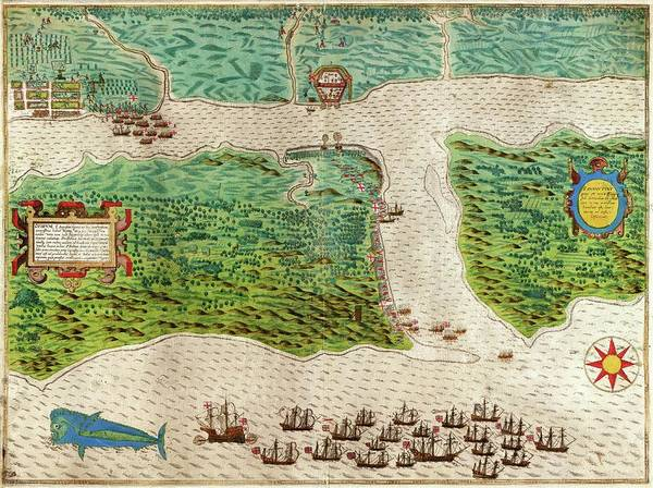 Saint Augustine Florida Photograph - Drake's Attack On Saint Augustine by Library Of Congress, Rare Book And Special Collections Division
