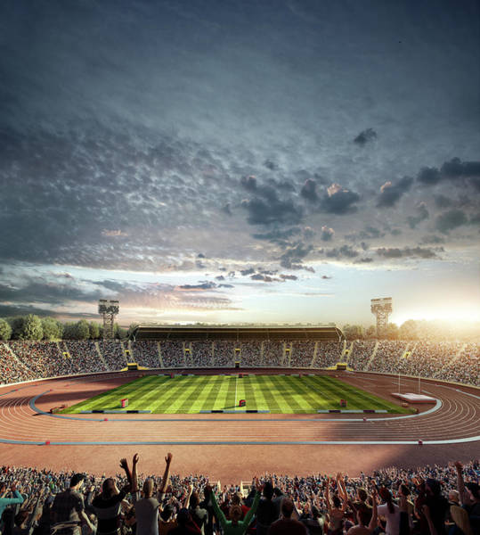 Sport Venue Photograph - Dramatic . Stadium With Running Tracks by Dmytro Aksonov