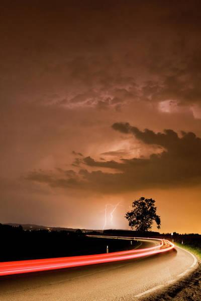 Friuli Photograph - Dramatic Cloudscape Over Country Road by Mauro grigollo