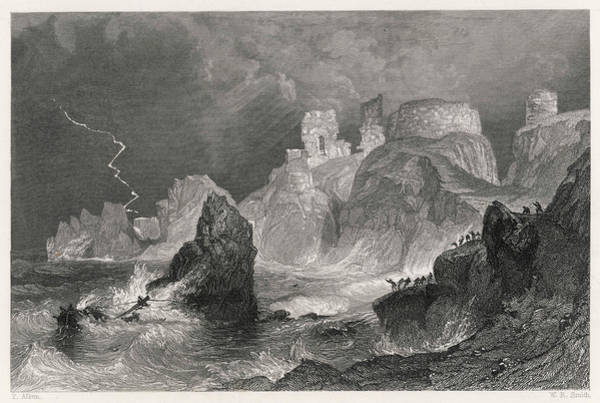 Dunbar Wall Art - Drawing - Dramatic Coastal View Of Dunbar  Castle by Mary Evans Picture Library