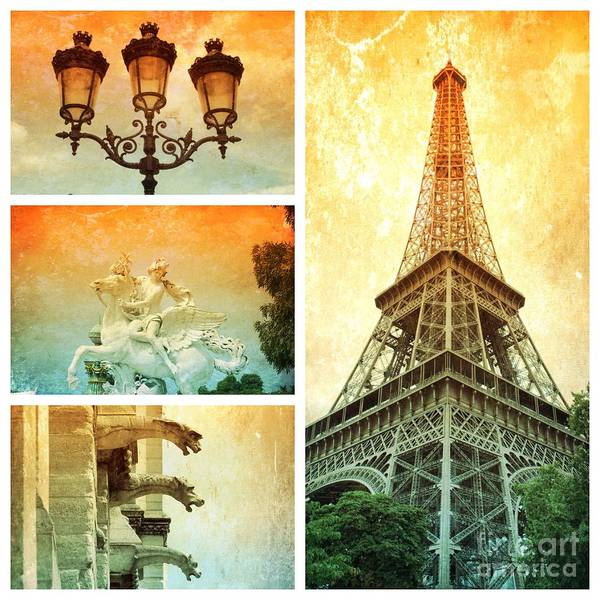 Photograph - Dramatic Paris Collage by Carol Groenen
