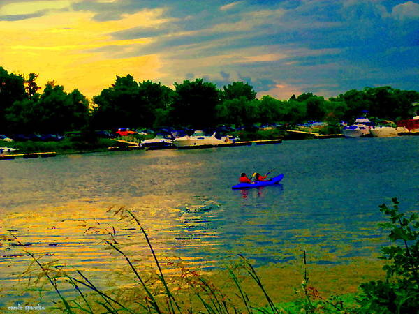 Painting - Dramatic Skies Canoes At Sunset Along The Wharf Of The Lachine Canal Quebec Scenes Carole Spandau by Carole Spandau