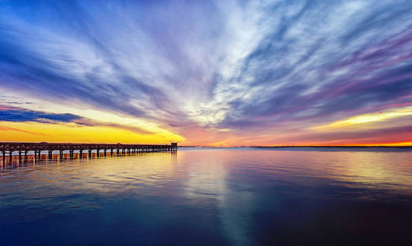 Babylon Photograph - Dramatic Sunrise Over The Fishing Pier by Vicki Jauron, Babylon And Beyond Photography