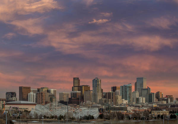 Mile High City Photograph - Dramatic Sunset Over Downtown Denver by Bridget Calip