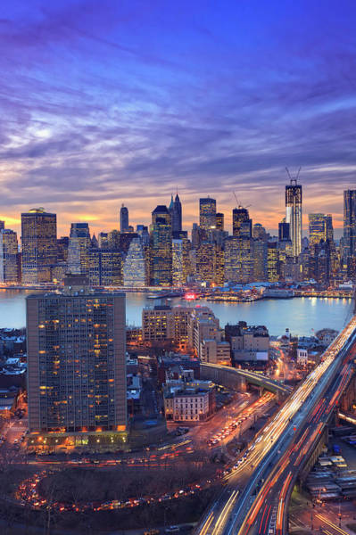 East Side Photograph - Dramatic Sunset Over New York City by Pawel.gaul