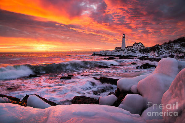 Cape Elizabeth Photograph - Dramatic Winter Sunrise At Portland Head Light by Benjamin Williamson