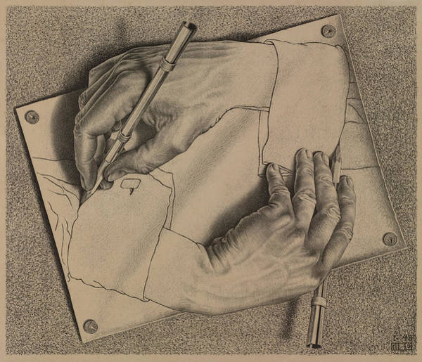 Wall Art - Painting - Drawing Hands by Maurits Cornelis Escher