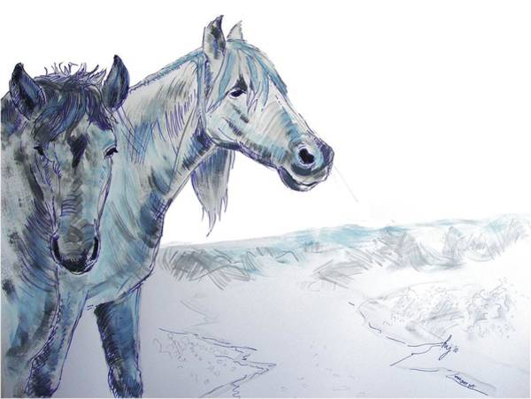 Painting - Drawing Horses by Mike Jory