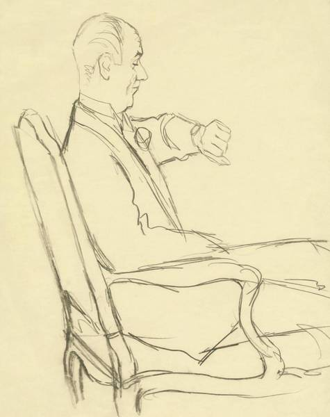 Chair Digital Art - Drawing Of Man Looking At His Watch by Carl Oscar August Erickson