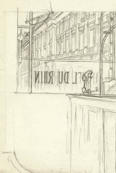 Window Digital Art - Drawing Of A Bar And Front Window Of Hotel Du Rhin by Carl Oscar August Erickson