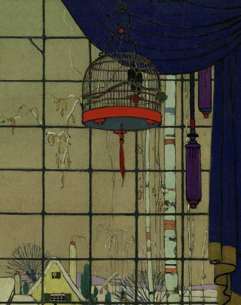 House Digital Art - Drawing Of A Bid In A Cage In Front Of A Window by H. George Brandt