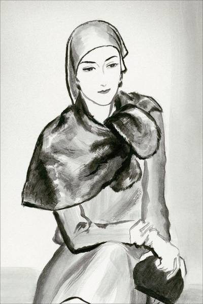 Warmth Digital Art - Drawing Of A Woman Wearing A Lucien Lelong by Rene Bouet-Willaumez