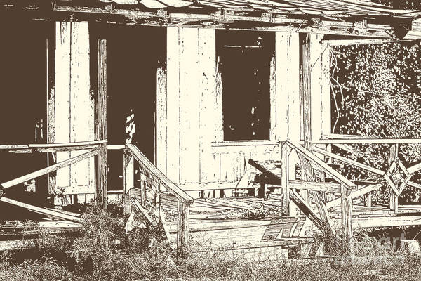 Drawing - Drawing Of An Old House With Porch In Brown 3000.04 by M K Miller