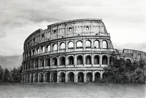 Ancient Architecture Digital Art - Drawing Of Coliseum, Italy by Hg0513 / Multi-bits