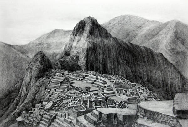 Ancient Architecture Digital Art - Drawing Of Machu Picchu, Urubamba, Peru by Hg0513 / Multi-bits