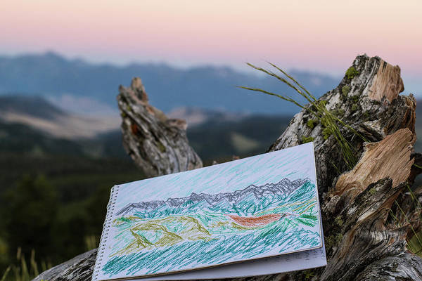 Log Drawing - Drawing Of Montanas Rocky Mountains by Hannah Dewey
