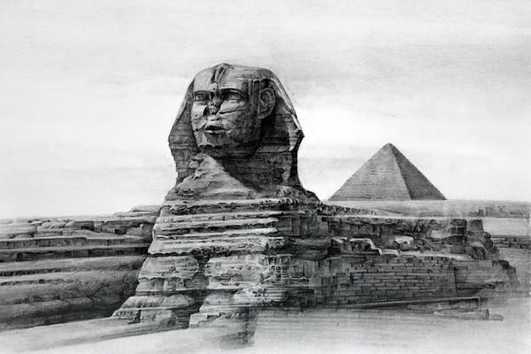 Ancient Architecture Digital Art - Drawing Of The Sphinx, Egypt by Hg0513 / Multi-bits