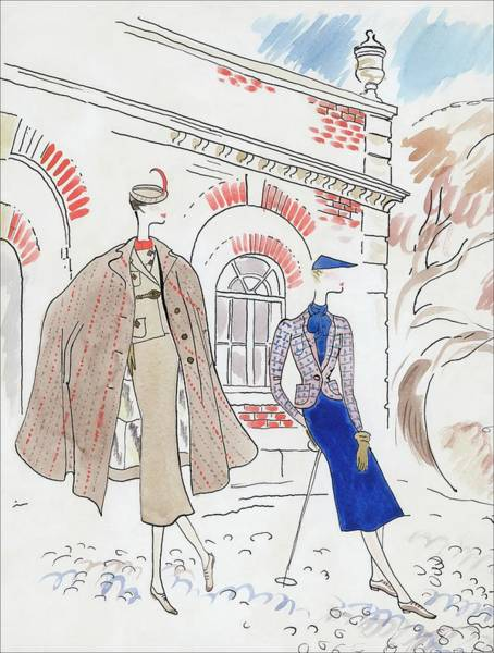 Drawing Of Two Women In Tweed Outfits Art Print by Cecil Beaton