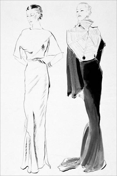 Black And White Digital Art - Drawing Of Women In Evening Wear by Rene Bouet-Willaumez