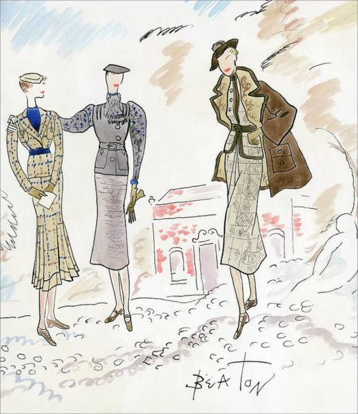 Standing Digital Art - Drawing Of Women In Stylish Designer Outfits by Cecil Beaton