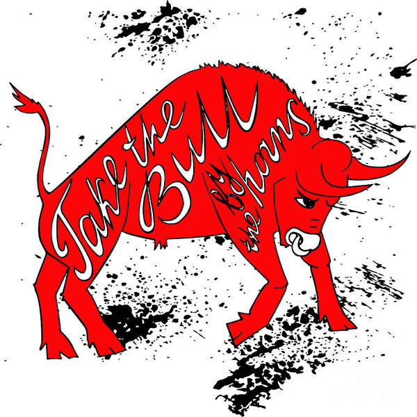 Longhorns Wall Art - Digital Art - Drawing Red Angry Bull On The Grunge by Ana Babii