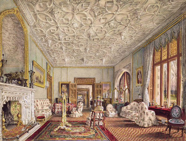 Fireplace Drawing - Drawing Room In The Gothic Style, C.1850 by Thomas Mann Baynes